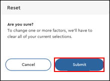 Image of Reset Confirmation Pop-Up Window