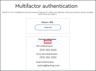 Image of Multifactor Authentication Reset Link