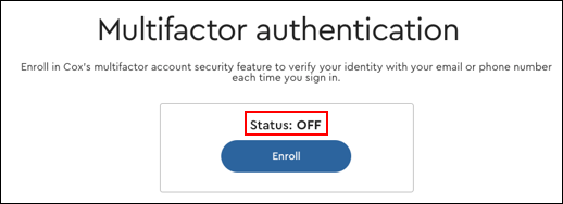 Image of multifactor authentication Status: Off