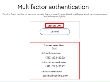 Image of Multifactor Status ON