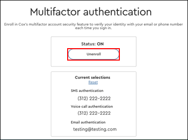Image of Multifactor authentication Unenroll