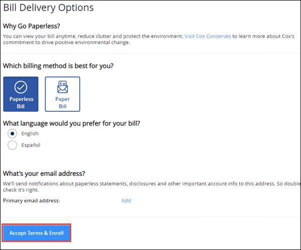 Image of My Account Bill Delivery Options screen highlighting the Accept Terms and Enroll button