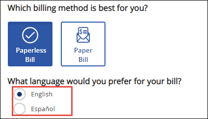 Image of My Account Bill Delivery Options screen highlighting the language option