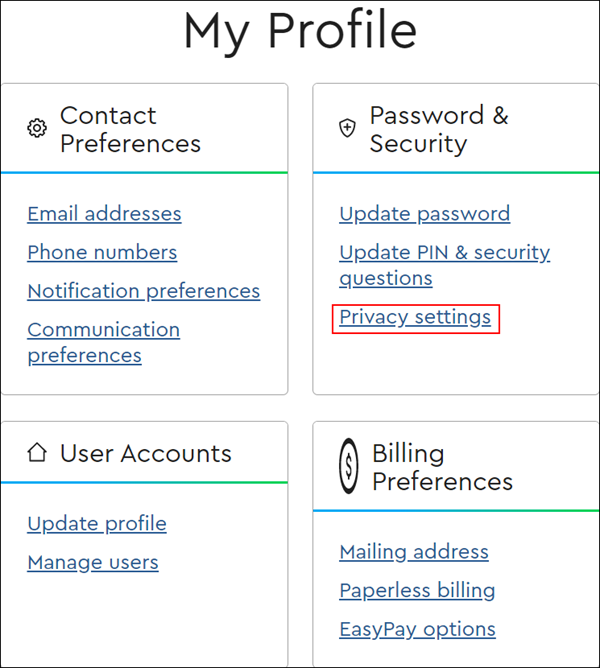 Image of My Profile, Privacy Settings