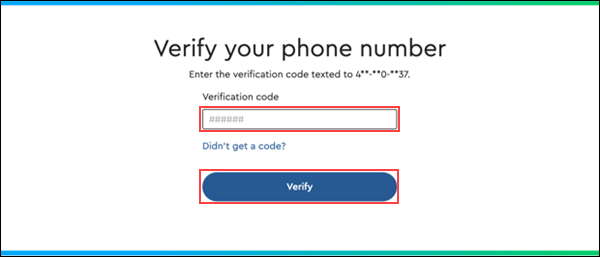 Image of the Cox.com My Account Registration Verify your phone number page