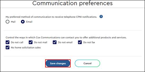 Imagen de la página de Preferencias de comunicación