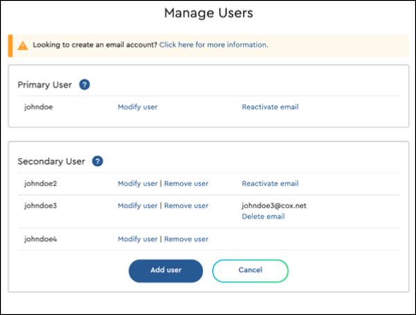 Imagen de la página Mi perfil, Administrar usuarios