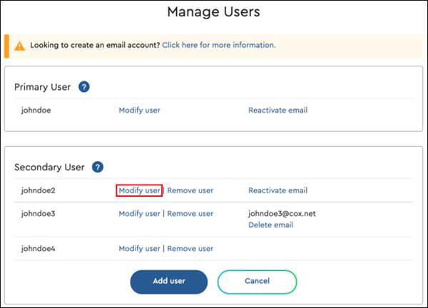 Image of modify user link