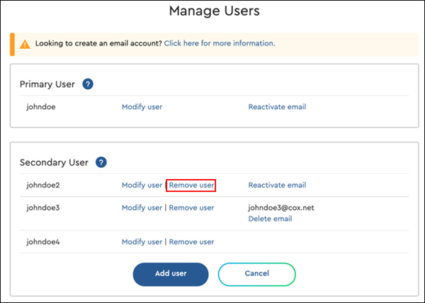 Image of remove user link
