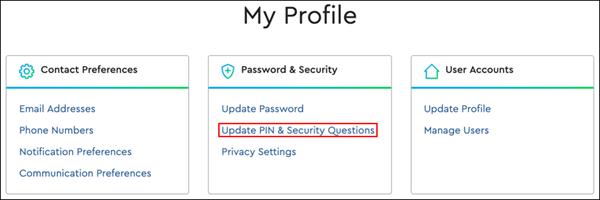 Imagen de Mi perfil, Actualizar clave secreta y preguntas de seguridad