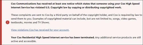DMCA Customer Portal Notification of Suspension