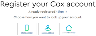 Image of the Cox.com Register your Cox account page
