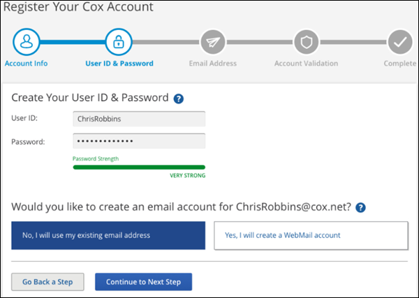 My Account Register Your Cox Account Create your Cox User ID
