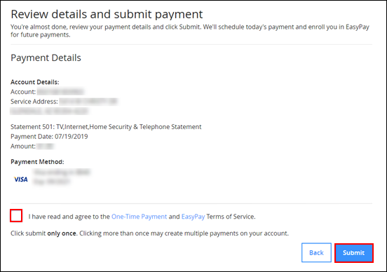 Image of EasyPay enrollment review page on Cox.com highlighting the Submit button