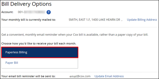 Bill delivery method options