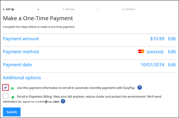 Image of the Make One-Time Payment page on Cox.com highlighting the EasyPay option under Additional options