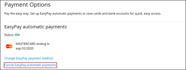 Image of the Payment Options section on Cox.com highlighting the Cancel EasyPay automatic payments link