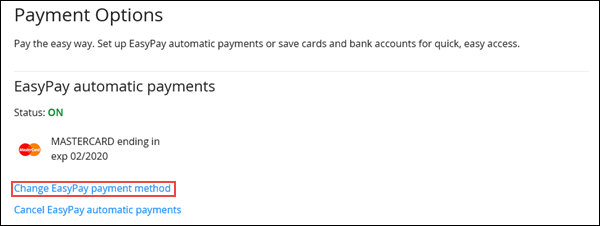 Image of the Payment Options section on Cox.com highlighting the Change Easypay payment method link