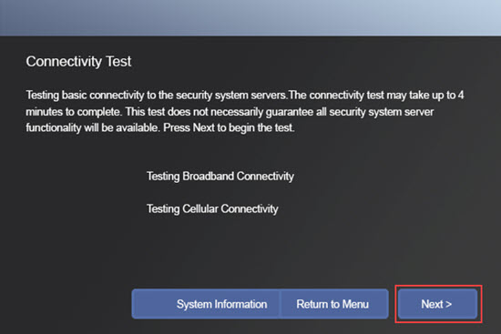 image of the test connection screen