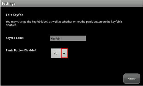 resalta la opción Panic Button Disabled