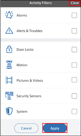 Image of Clear activity filters