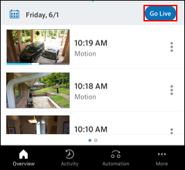 Image of CVR Go Live button