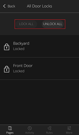 Pantalla Door Locks - Trabar/destrabar puertas múltiples