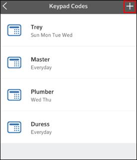Image of Add Keypad Code screen