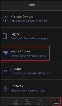 More Menu - Keypad Codes