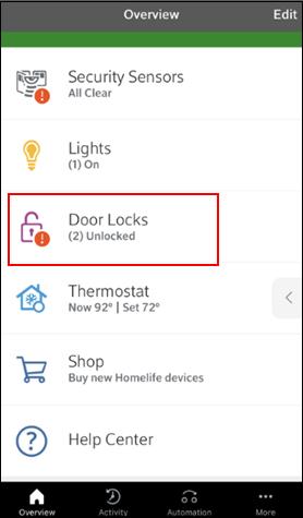 Image of Overview screen-Doorlock Tile