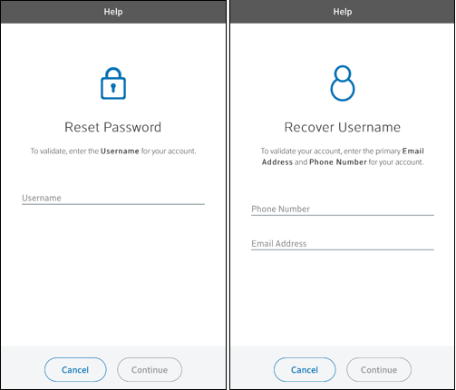 Image of Reset Password and Recover Username screens