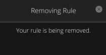 Confirmación de eliminación de regla