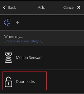 Add Rules - Door Locks tile
