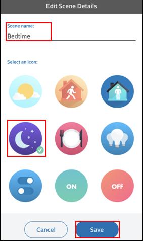 Image of Edit Scene Details screen