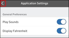 Imagen de flecha hacia atrás en la pantalla Application Settings