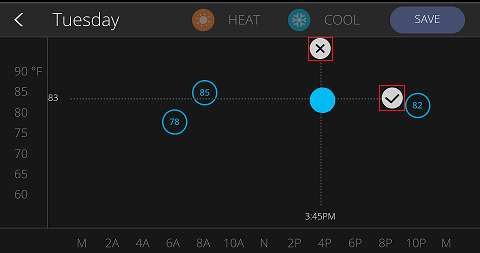 Saving and Deleting Thermostat Settings