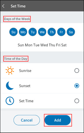 Image of set time and day screen