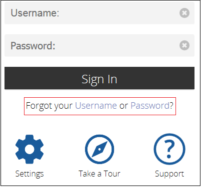 Forgot Username or Password Link