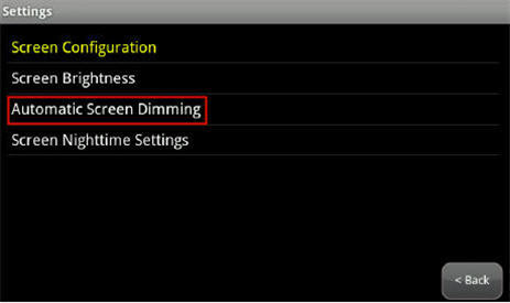 highlights Automatic Screen Dimming option