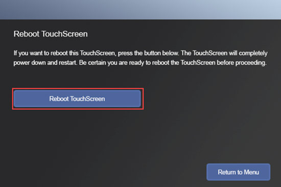 Image of the Reboot Touchscreen button