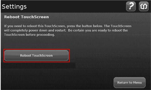 Reboot Touchscreen Screen