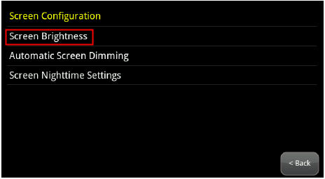 image of screen configuration menu with Screen Brightness option highlighted
