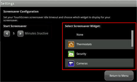 resalta las opciones de Select Screensaver Widget
