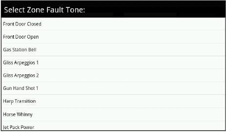 Select Zone Fault Tone Screen