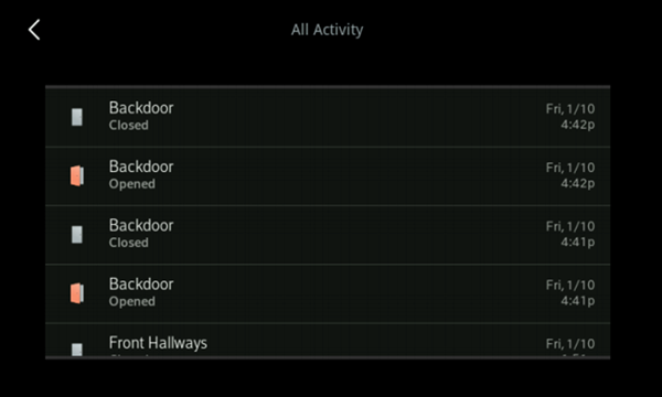 Image of Activity screen