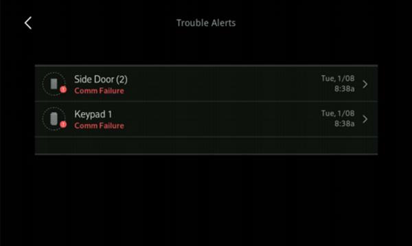 Image of Trouble Alert screen