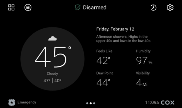 Image of Weather screen
