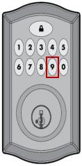 Image of Kwikset number 9 on keypad