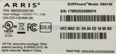 SB6190 MAC Label