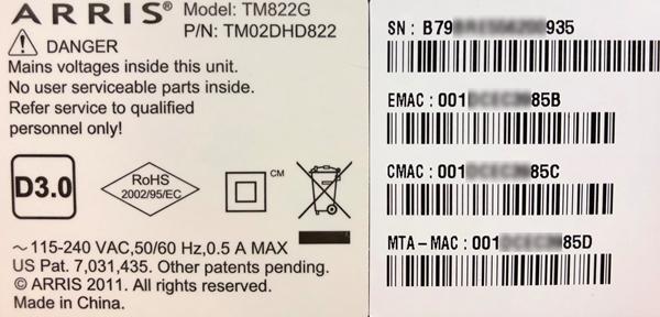 image of ARRIS TM822 MAC address